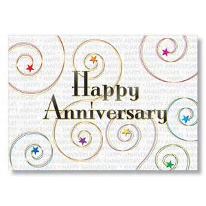 business anniversary message colored swirls anniversary cards