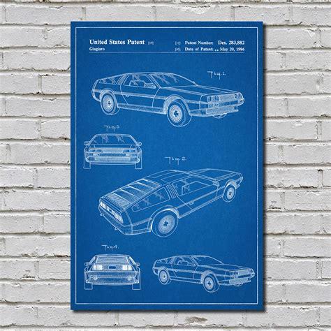 delorean blueprint delorean blueprint auto patent prints touch of modern