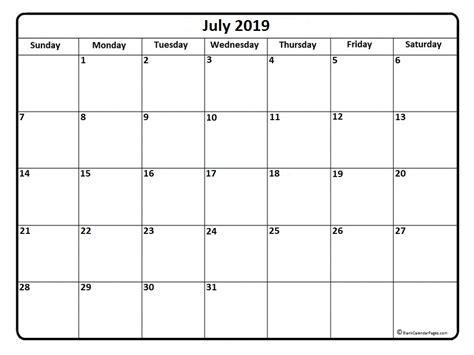 Calendar 2019 July July 2019 Calendar July 2019 Calendar Printable