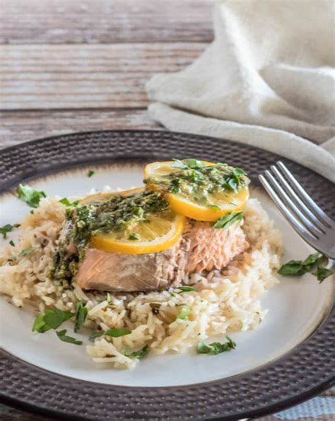 Todays Special Sake Salmon And Rice by Instant Pot Salmon And Rice With Lemon Caper Chimichurri