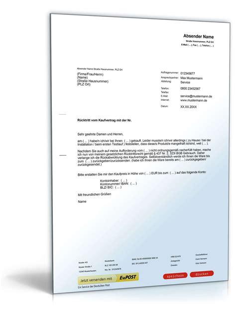 Kaufvertrag Auto Lieferverzug by R 252 Cktritt Vom Kaufvertrag Wegen Mangels Muster Zum Download