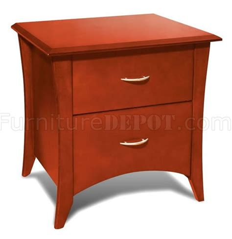 Cherry Nightstand With Drawers Cherry Finish Two Drawer Nightstand With Tapered Legs
