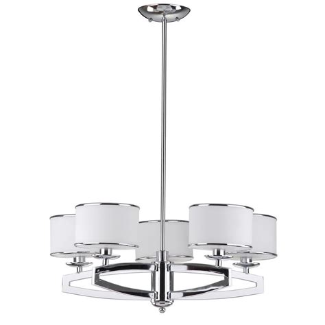 White Drum Chandelier Safavieh Lenora Drum 5 Light Chrome Pendant Chandelier With Etched White Shade Lit4208a The