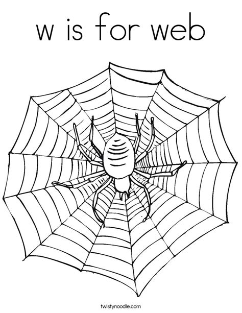 W Is For Web Coloring Page by W Is For Web Coloring Page Twisty Noodle