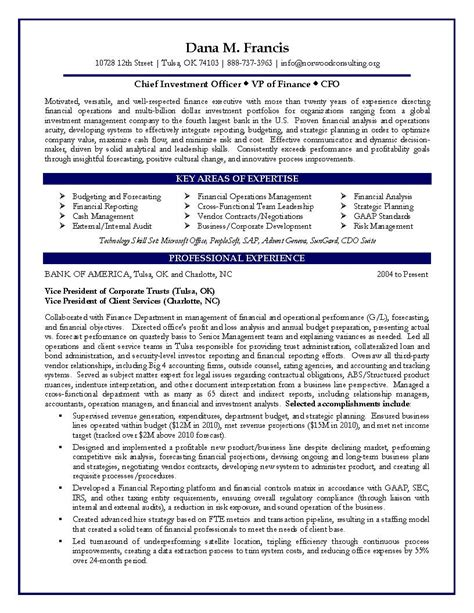 Cfo Resume by Cfo Sle Resume Vp Of Finance Sle Resume