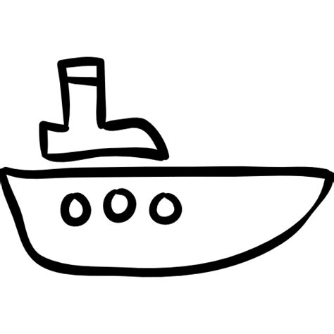 tow boat outline boat hand drawn outline free transport icons