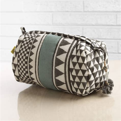 Quilted Makeup Bags by Sankari Geometric Stripe Quilted Voile Makeup Bag By