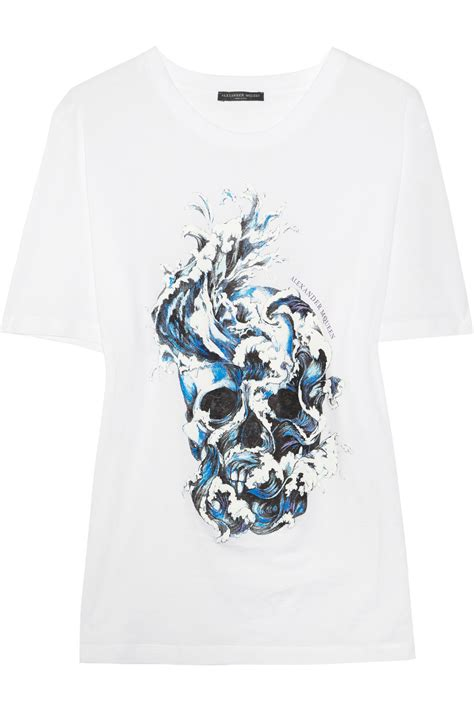 T Shirt Skull Print mcqueen skull print cotton t shirt in white lyst