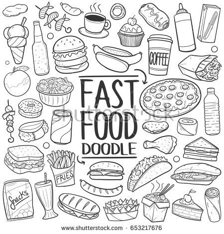 fast food doodle vector fast food doodle icons made stock vector 653217676