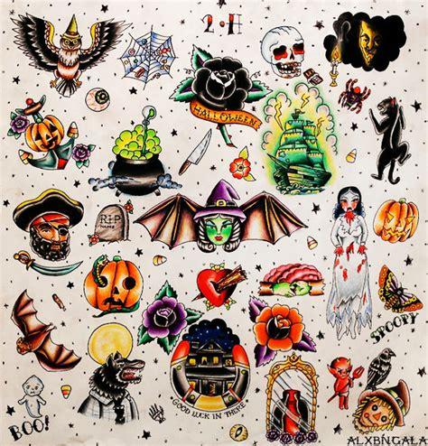 tattoo flash halloween alxbngala halloween tattoo flash 2 by alejandra l manriquez
