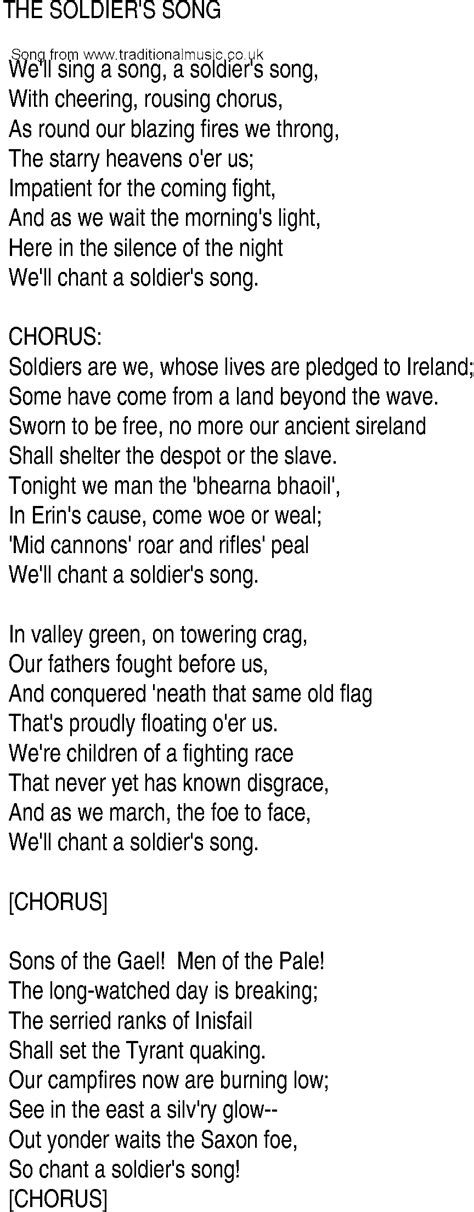 soldier song song and ballad lyrics for soldiers song