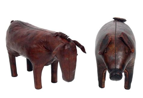 Ottoman Zoo Ottoman Zoo Omersa Leather Animal Pig Footstool For Abercrombie And Fitch At 1stdibs