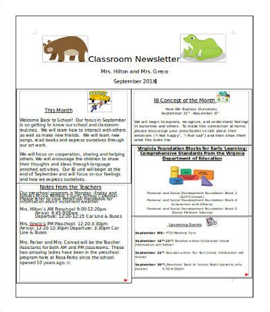 One Page Newsletter Template Classroom Newsletter Template 9 Free Word Pdf Documents Download Free Premium Templates