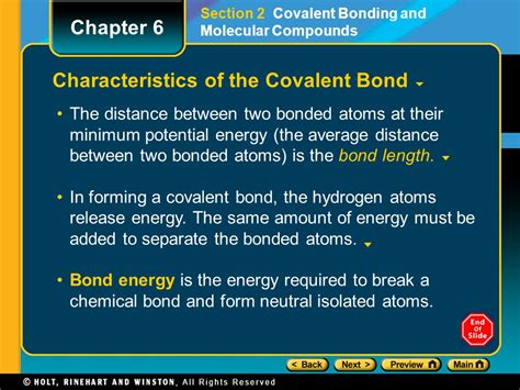 section 6 2 covalent bonding chapter 6 preview lesson starter objectives chemical bond