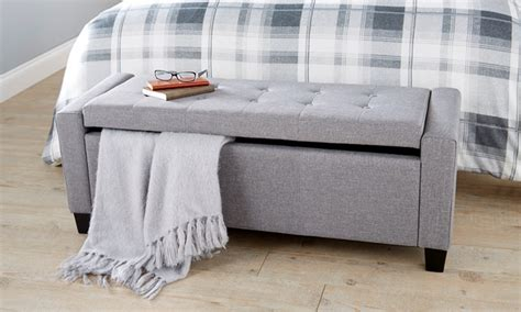 fabric covered storage bench verona fabric ottoman 3 colours groupon goods