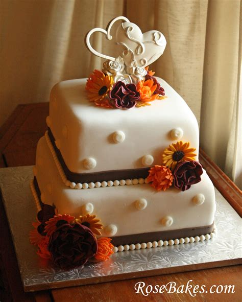 Fall Wedding Cakes by Fall Flowers Wedding Cake