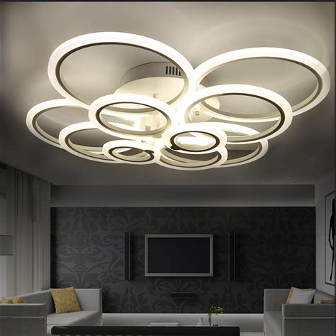 Modern Ceiling Lights For Dining Room White Modern Acrylic Led Ceiling Light Fixture Ring Lustre Large Flush Mounted Circles L For