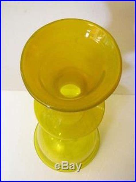 Large Yellow Floor Vase Vintage Blenko Glass Decanter Floor Vase