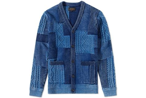 beams plus indigo patchwork cardigan