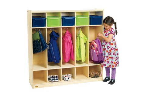 Back Pack Chairs Angeles Value Line Birch 5 Section Preschool Locker