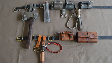 Handmade Survival Tools - handmade leather bushcraft survival belt kit gear from