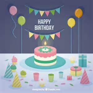 flat happy birthday card vector premium