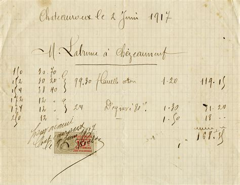 Printable Hand Written Receipt | free vintage printable french handwritten receipt old