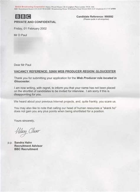 Rejection Letter Of The Year 33 cover letters and applications that are actually real
