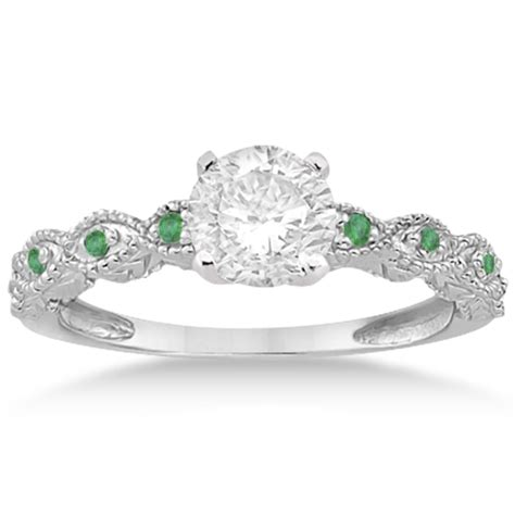 vintage marquise emerald engagement ring 14k white gold 0 18ct