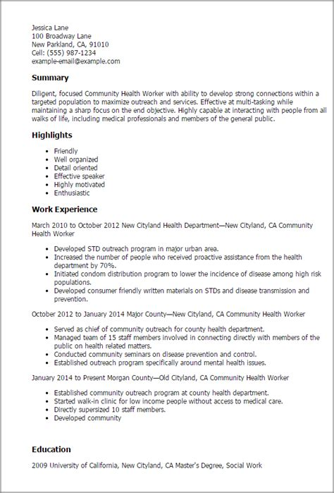 Mental Health Resume Objective Professional Community Health Worker Templates To Showcase Your Talent Myperfectresume