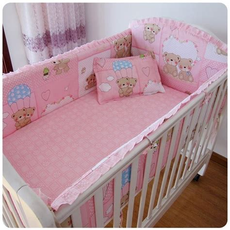 nursery bedding and curtain sets promotion 6pcs pink berco cot bumpers crib sets baby cot bedding set curtain bed linen