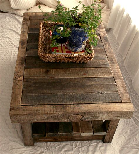 reclaimed barnwood coffee table features reclaimed wood