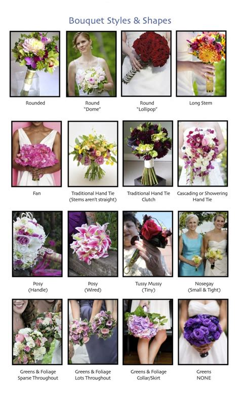 a florist is advertising five types of bouquets bouquets in all different shapes and sizes dandie andie
