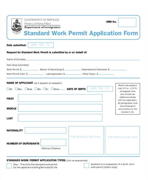 work permit template 7 work application templates free sle exle