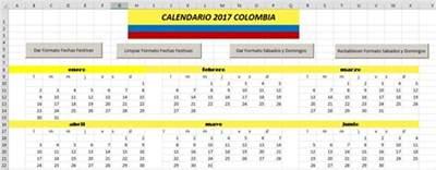 Calendario 2017 Excel Con Festivos Calendario 2017 Colombia 171 Excel Avanzado