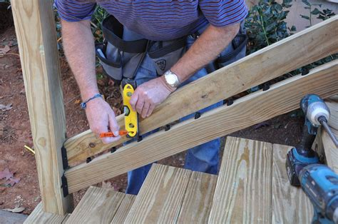 installing a stair banister decks com deck stair railings