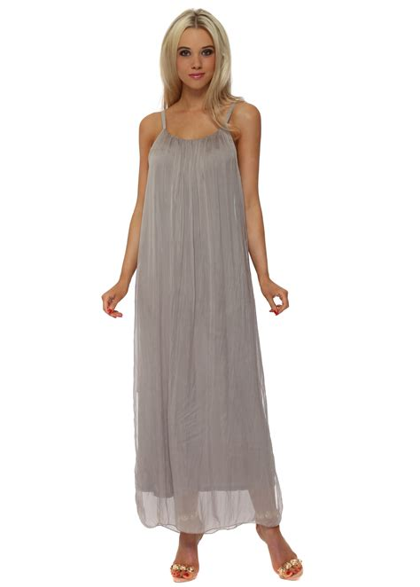 Maxi Mocca mocha taupe plain silk maxi dress