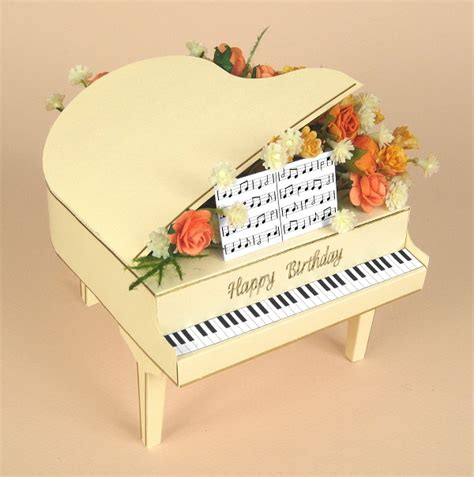 3d Card Templates by Card Craft Card Templates 3d Grand Piano By