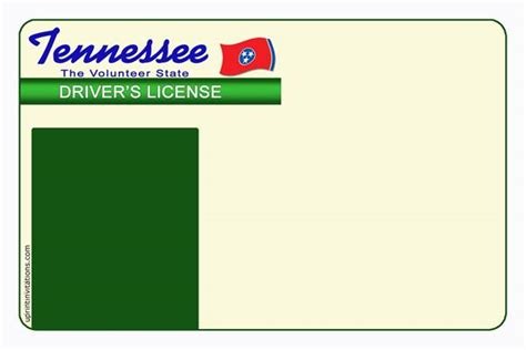 tennessee drivers license template tennessee drivers license template