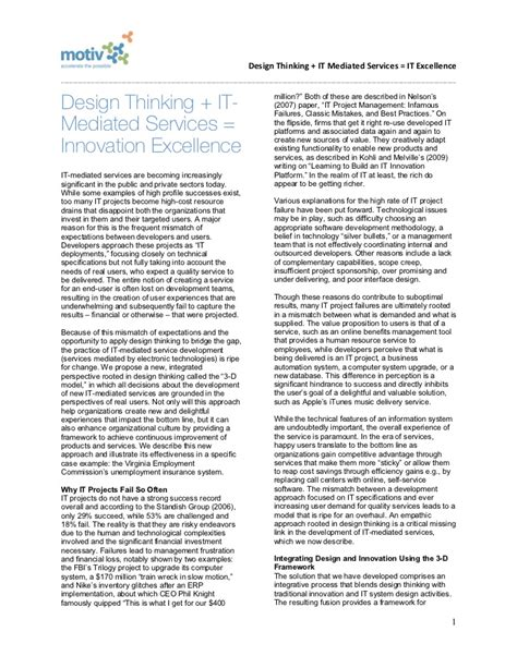 layout of strategy paper design thinking it services innovation excellence