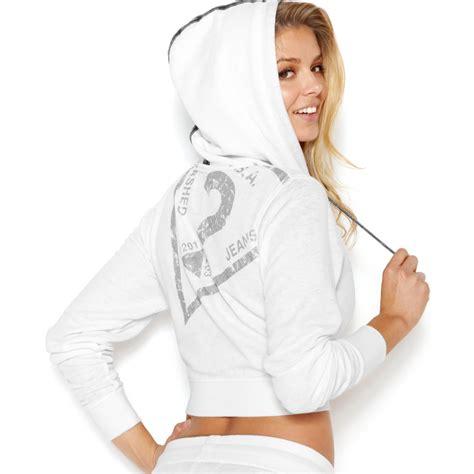 Printed Cropped Hoodie guess printed cropped hoodie in white lyst