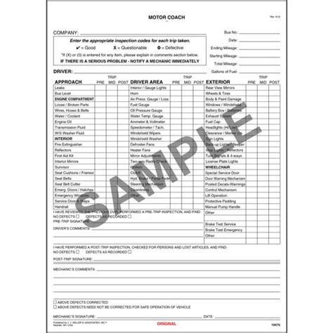 Field Coaching Report Template new york motor coach driver s vehicle inspection report