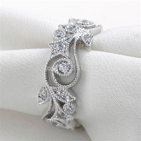 flower wedding band ring ship from us 925 sterling silver wedding ring for aaa cz engagement bands free jpg