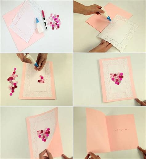 Handmade Greeting Card Tutorials - handmade s day card tutorial pink buttons