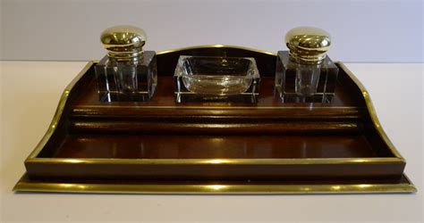 Antique French Mahogany Brass Inkstand Desk Set C 1900 Antique Desk Accessories