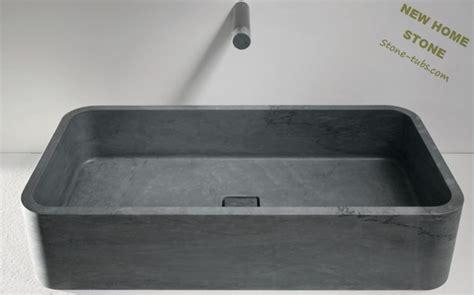 Large Modern Bathroom Sinks Retangular Vessel Limestone Sinks Large Sink Design Honed
