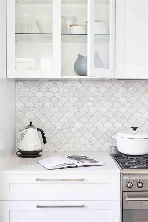 4x12 subway fliese gorgeous white kitchen boasts marble fan shaped