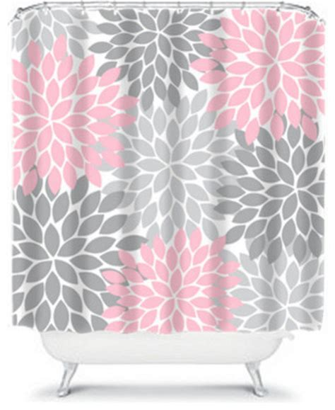 grey and pink shower curtain shower curtain home bathroom decor pink gray flower burst