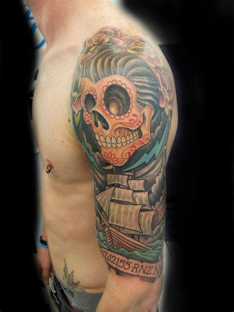 calavera tattoo designs rockabilly half sleeve clint jones new zealand