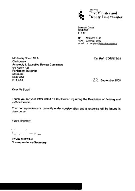 Resignation Letter Sle Before End Of Probation Welcome To The Northern Ireland Assembly